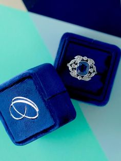 Navy blue small velvet ring with separate lid made from limited edition velvet.