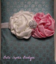 Girls Headband Satin Double Rose And by BellaSophiasBoutique