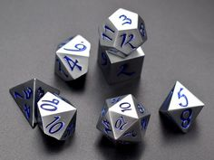 Dice Set for Dungeons and Dragons-dnd Dice-Blue Metal Dice for d&d-Polyhedral Dice Set-Heavy dice for Tabletop RPGs-dragon dice-rpg dice