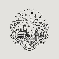 I would like this with an owl instead of antlers. *Have one leg with Hogwarts and the other with Cinderellas Castle, mirroring each other, same style, etc.