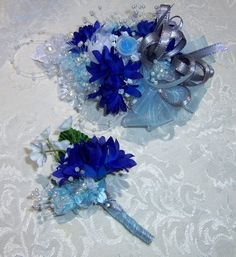 Wrist Corsage- Made to Order- 2 Piece Set- Light Blue-Dark Blue- White Wrist Corsage and  Boutonniere via Etsy