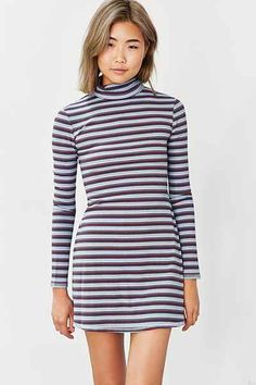 BDG Kaylyn Ribbed Turtleneck Dress - Urban Outfitters