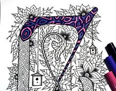 Letter G Zentangle  Inspired by the font Penelope
