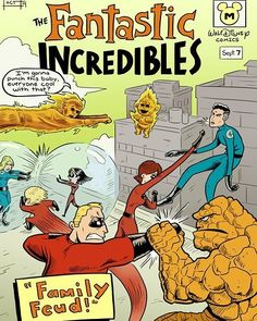 The perfect match Fantastic Four vs The Incredibles...Human Torch is the best part..who do you think would win? #nerd #geek #marvel #fantasticfour #thething #invisiblewomen #mrfantastic #humantorch #drdoom #lol #disney #Pixar #incredibles #comics #comicart #marvelart #art #batman #suicidesquad #superman #stanlee #cosplay #starwars #anime #xmen #videogames