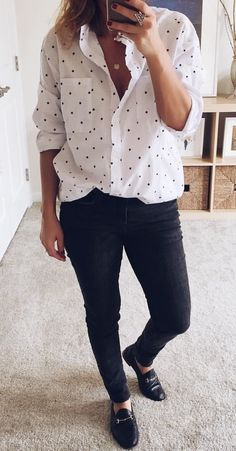 #winter #outfits white and black polka-dotted button-up long-sleeve shirt