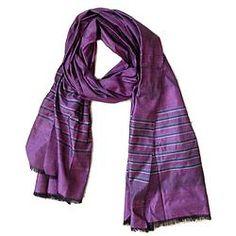 House of Wandering Silk - Afghan silk scarf in lavender (Af21)