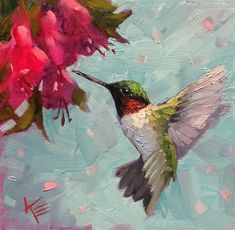 Krista Eaton Gallery of Original Fine Art Easy Paintings, Watercolor Paintings, Red Hummingbird, Dragonfly Painting, Daily Painters, Art Daily, Impressionist Paintings, Fine Art Gallery, Flower Art
