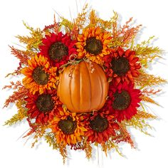 This floral wreath is perfect to warm up your door during the Fall months.