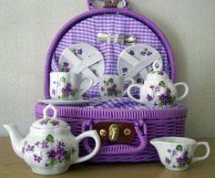 Children's Purple Violets Tea Set $33