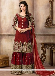 Buy Pakistani Suits online from Tithli Fashion. Shop from a fascinating collection of Pakistani Shalwar Kameez & Designer Suits. Divine Maroon Color Pure Viscose Upada Silk Embroidered Party Wear Pakistani Suit Make heads turn by donning this splendid ma Pakistani Bridal Dresses, Pakistani Dress Design, Indian Dresses, Indian Outfits, Salwar Kameez, Sharara Suit, Anarkali Suits, Indian Anarkali, Churidar Suits
