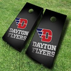 Crank up the fun with these Dayton Flyers cornhole boards; featuring a slanted Flyers logo design and black gradient background....