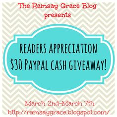 Enter to win the Readers Appreciation $30 Paypal Cash Giveaway!