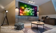 We have a unique collection of Acoustically Transparent Screens. Take a look at http://www.elitescreens.com/products/acoustically-projection-screens