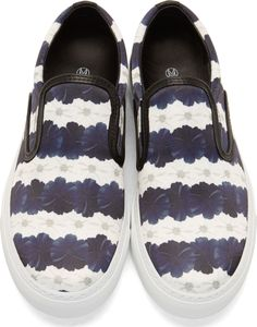 Mother of Pearl: White & Navy Floral Stripe Achilles Slip-On Sneakers | SSENSE