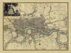 A map of London, c 1800 - a wonderful, unique gift from Old Folding Maps, specialist publishers of historical maps & charts