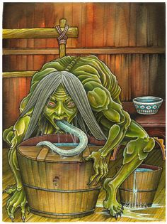 Akaname- Japanese folklore: a humanoid creature that has a long poisonous tongue. It goes into dirty bathrooms and licks it clean. It is thought that this story was made to scare children into cleaning their bathrooms.