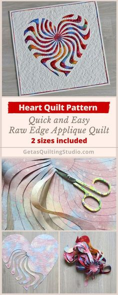 Not an e-cut pattern but inspiration for possible design. Applique heart quilt pattern - quick and easy technique for a small raw edge applique quilt. 2 sizes are included. Heart Quilt Pattern, Quilt Block Patterns, Applique Patterns, Applique Ideas, Quilt Blocks, Embroidery Ideas, Patchwork Quilting, Applique Quilts, Crazy Patchwork