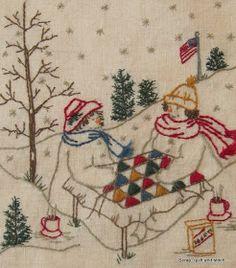Scrap,quilt and stitch: Snow ladies Diy Embroidery By Hand, Christmas Embroidery, Embroidery Patterns, Quilt Patterns, Cross Stitching, Cross Stitch Embroidery, Cross Stitch Patterns, Quilting Projects, Snowman