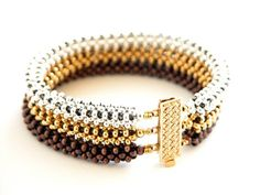 Beading Tutorial - Trinity Metal Bead Bracelet Pattern - Right Angle W