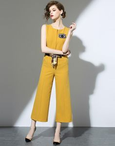 #VIPme Yellow Fashion Sleeveless Belted Straight Jumpsuit ❤️ Get more outfit ideas and style inspiration from fashion designers at VIPme.com.