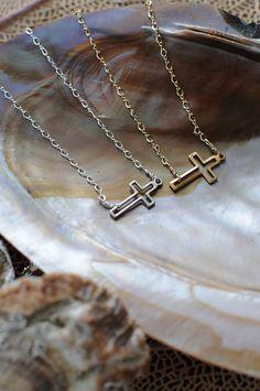IN LOVE WITH MINE!! Miranda Frye sideways cross necklace.  Gold-filled or sterling.  www.mirandafrye.com