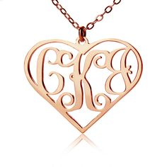 Heart Monogram Necklace Rose Gold 3 Initials Necklace Jewelry 40% off