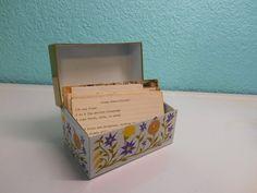 Vintage flowered metal recipe box by SouvenirAndSalvage on Etsy
