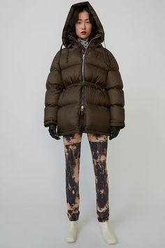 Acne Studios - Hooded down jacket Forest green Acne Studios, Nylons, Marketing Direct, Puffy Jacket, Down Coat, Mantel, Hoods, Winter Fashion, Winter Jackets