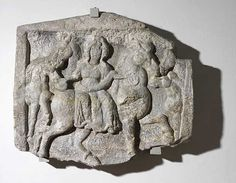 Called the 'Bregenz Epona', this is a  representation of the Celtic Goddess Epona, in classic style, sitting sideways on a horse. Sandstone relief. 1/2 Century AD, from the temple district of Brigantium.