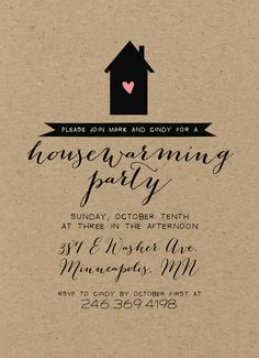 Kraft Housewarming Party Invitation / Rustic, Shabby Chic, Silhouette, Calligraphy