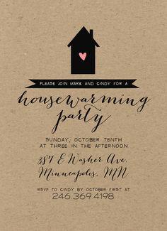 housewarming party invitation - modern rustic, minimalist invite, Party invitations