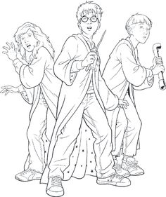 Free Harry Ron And Hermione Coloring Pages Halloween