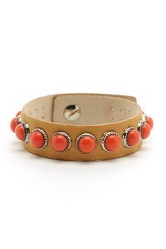 Streets Ahead Coral Beaded & Tan Leather Snap Bracelet | South Moon Under