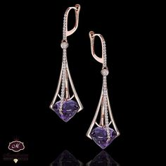 Maryam Mozaffarian Jewelry - Diamonds and Amethyst mounted on rose Gold Earrings