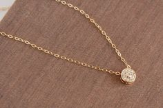 Gold Circle, Dainty Gold Filled Chain, Delicate, Dainty Gold Necklace, Layering Necklace, Simple Everyday