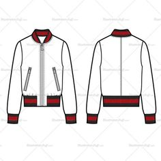 Fashion Flat Vector Template Unisex sketch of a classic bomber with striped 1x1 ribbing at collar, sleeve hem and bottom hem. All sketches are CADed up and the outside strokes are connected.