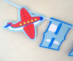 Airplane HAPPY BIRTHDAY Banner  Airport Control Tower by Devany, $20.00