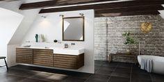 Klassiskt men modernt badrum med element i valnöt