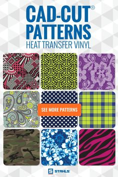 Take your designs up a notch with Stahls' NEW CAD-CUT Patterned heat transfer vinyl and a heat press! Choose the pattern and customize with your color choice!!