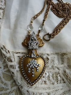 Ex Voto Sacred Heart with antique Paste and Chandelier Crystal,