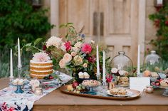 Fall Garden Inspiration with a naked cake and mini apple pies