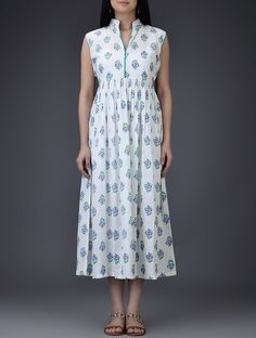 Buy Ivory Purple Green Mandarin Collar Block Printed Cotton Mul Dress with Gathers Women Dresses Online at Jaypore.com