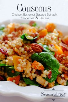 Couscous& Chicken - a fillingentree salad that pairs roasted butternut squash, chicken, spinach, driedcranberries, and toasted pecans. Get the Recipe!