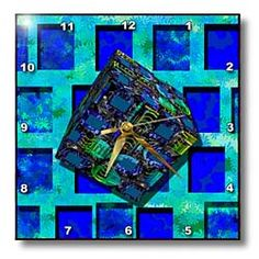 Blue and aqua layers in the background with a 3D cube Wrap in front Wall Clock