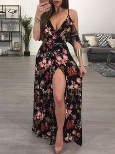 Ruffled Floral Print High Slit Cold Shoulder Maxi Slip Dress, Source by shoppingnew Dresses Dress Outfits, Fashion Dresses, Fashion Clothes, Emo Outfits, Trend Fashion, Fashion Fashion, Holiday Fashion, Feminine Fashion, Fashion Sale