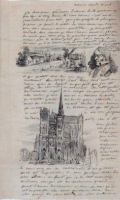 Célestin Nanteuil Village ; Portrait d'homme ; Cathédrale d'Amiens Lettre in-8 Plume, encre brune sur papier Amiens, Musée de Picardie