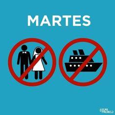 Martes, ni te cases ni te embarques. Ilustración por Llegas Pacheco.