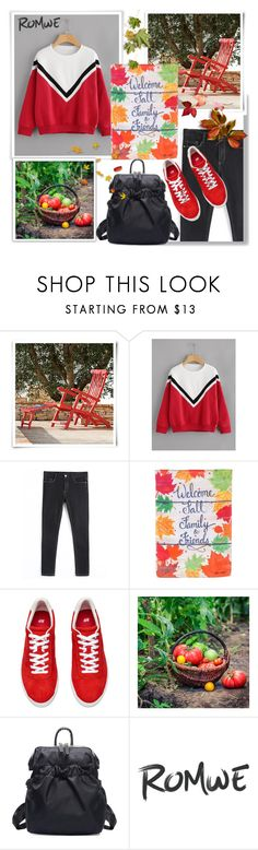 """""""Romwe.Drop Shoulder Striped Trim Sweatshirt"""" by natalyapril1976 ❤ liked on Polyvore featuring Ethimo and Evergreen"""