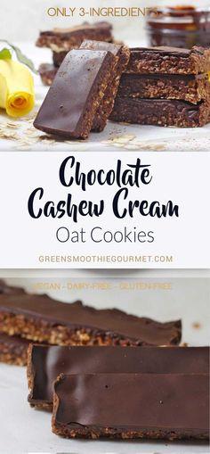 Chocolate Cashew Cream Oat Cookies {no-bake, gluten-free, refined-sugar-free} #vegan #3ingredients #cashewcream #cookies