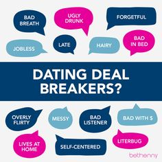 7 dating deal breakers Deal breakers of singles in america by dr justin r garcia february 7, 2012 single in america, singles, singles in america, sites dating, study, women.